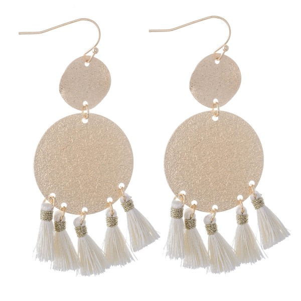 "Metallic Shimmer Disc Tassel Earrings in Gold.  - Approximately 2.75"" L"