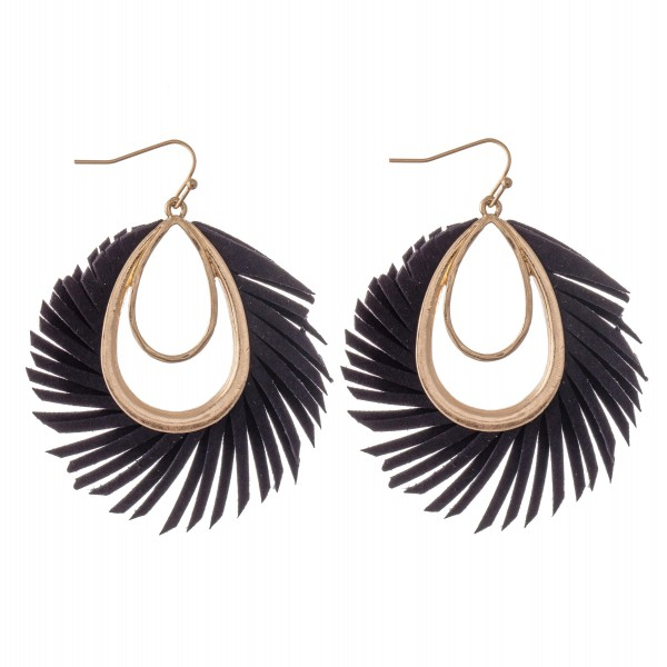 "Faux Leather Feather Teardrop Earrings in Gold.  - Approximately 2.25"" L"