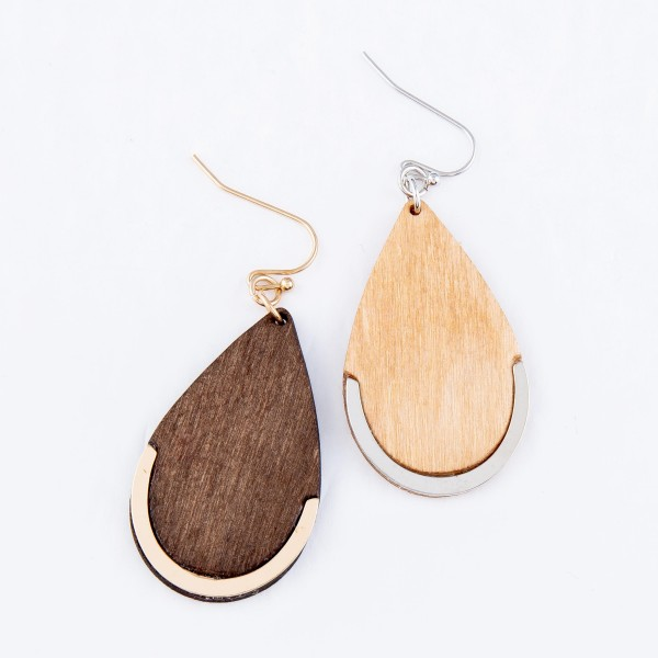 """Wooden Teardrop Earrings Featuring Metal Accent.  - Approximately 2"""" L"""