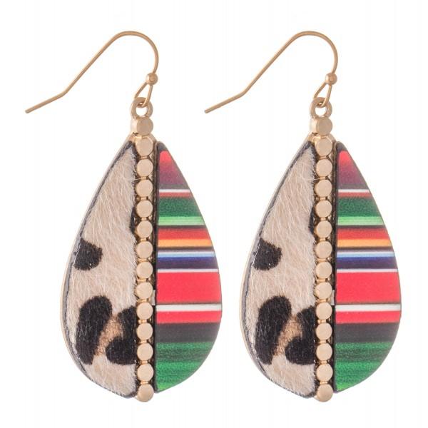 """Half Leopard Print Half Serape Teardrop Earrings in Gold.  - Approximately 2"""" L"""