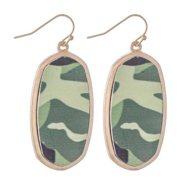 "Faux Leather Camouflage Drop Earrings in Gold.  - Approximately 2"" L"