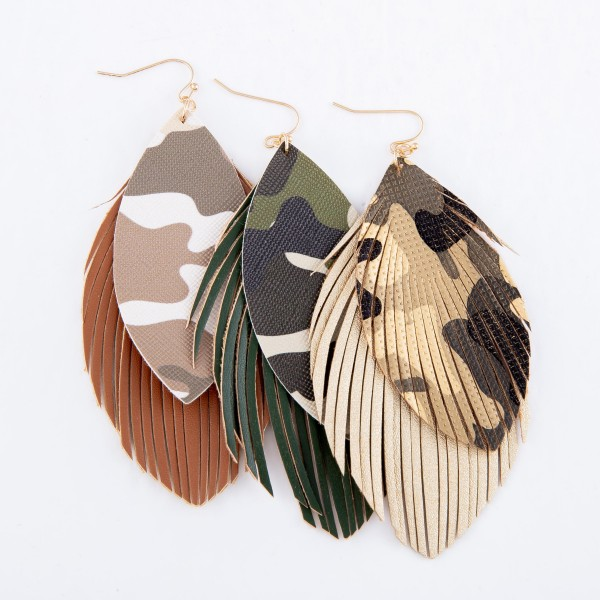 """Faux Leather Camouflage Feather Tassel Statement Earrings.  - Approximately 4"""" L"""