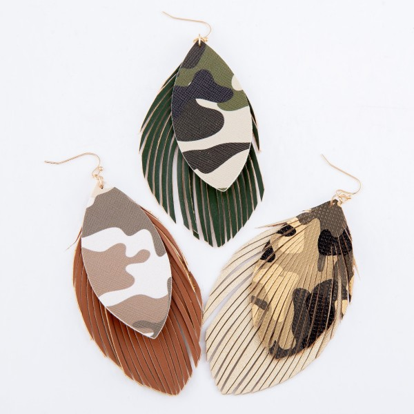 "Faux Leather Camouflage Feather Statement Earrings.  - Approximately 4"" L"