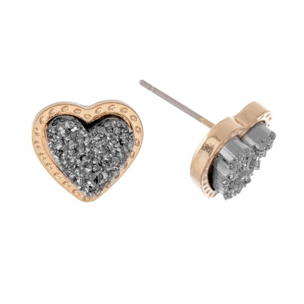 Wholesale druzy Heart Stud Earrings