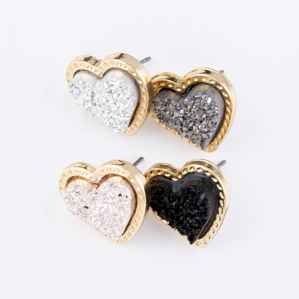 Druzy Heart Stud Earrings.  - Approximately .75""