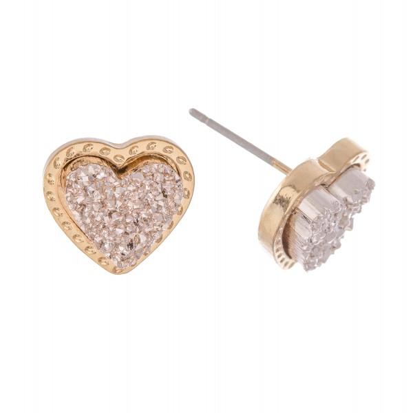 """Druzy Heart Stud Earrings.  - Approximately .75"""""""