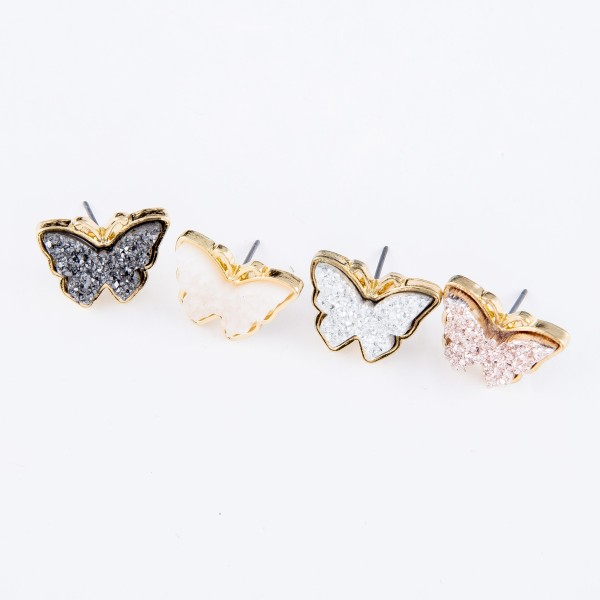 Butterfly Druzy Stud Earrings.  - Approximately .75""