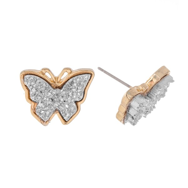 Wholesale butterfly Druzy Stud Earrings