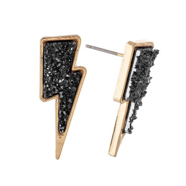 Lightning Bolt Druzy Stud Earrings.  - Approximately 1""