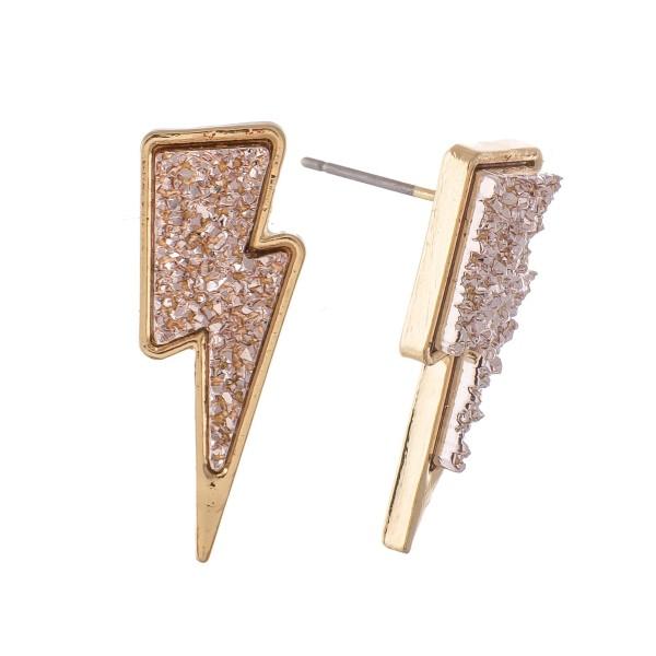"""Lightning Bolt Druzy Stud Earrings.  - Approximately 1"""""""
