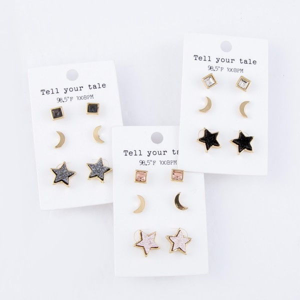 Rhinestone Star Druzy Stud Earring Set in Gold.  - 3 Pair Per Set - Approximately 1cm - .5""