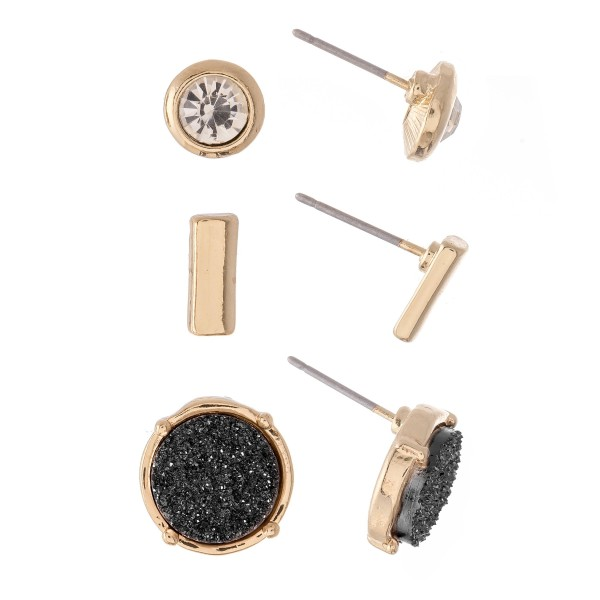 Wholesale rhinestone Druzy Bar Stud Earring Set Gold Pair Per Set cm