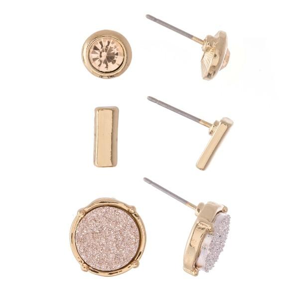 "Rhinestone Druzy Bar Stud Earring Set in Gold.  - 3 Pair Per Set - Approximately 1cm - .5"""