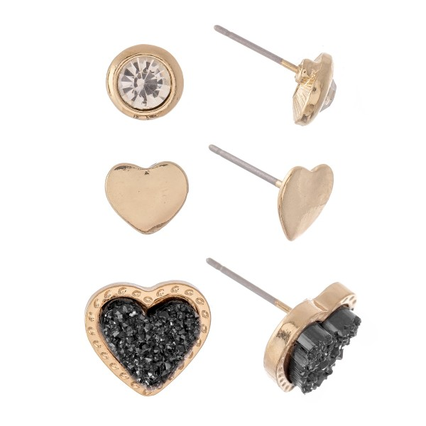 Rhinestone Druzy Heart Stud Earring Set in Gold.  - 3 Pair Per Set - Approximately 1cm - .5""