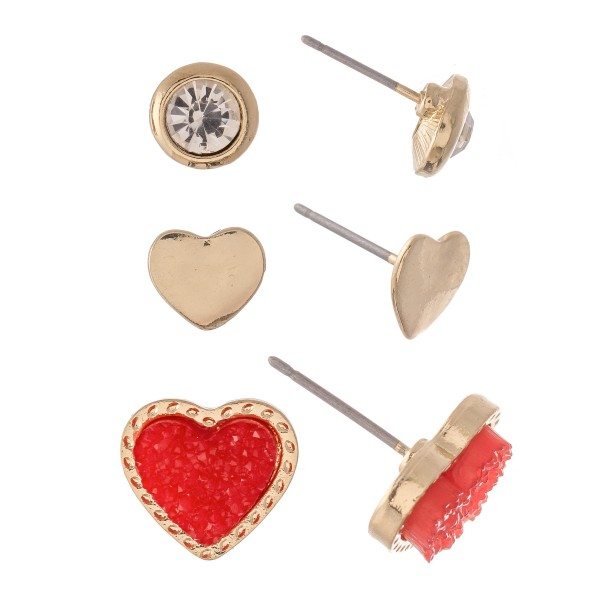 "Rhinestone Druzy Heart Stud Earring Set in Gold.  - 3 Pair Per Set - Approximately 1cm - .5"""