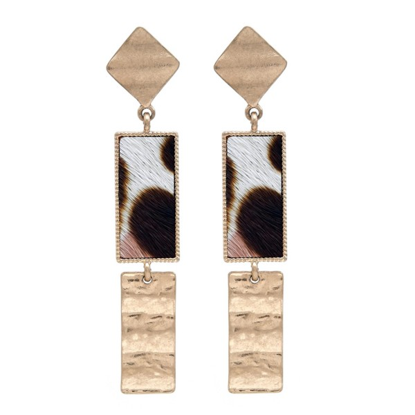 "Genuine Leather Leopard Print Link Bar Drop Earrings in Gold.  - Approximately 3"" Long"