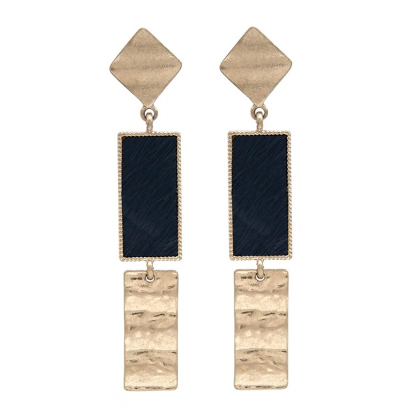 "Genuine Leather Animal Print Link Bar Drop Earrings in Gold.  - Approximately 3"" Long"