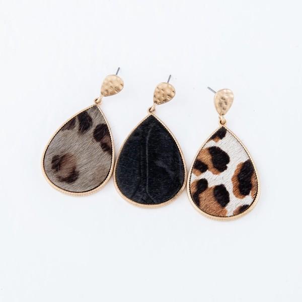 """Genuine Leather Leopard Print Teardrop Earrings in Gold.  - Approximately 2"""" Long"""