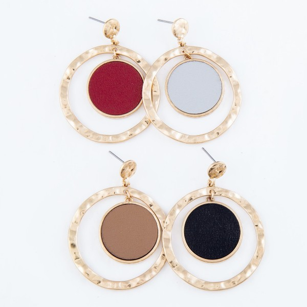 """Metal Encased Faux Leather Nested Earrings in Gold.  - Approximately 2"""" Long  - 1.75"""" in Outer Diameter"""