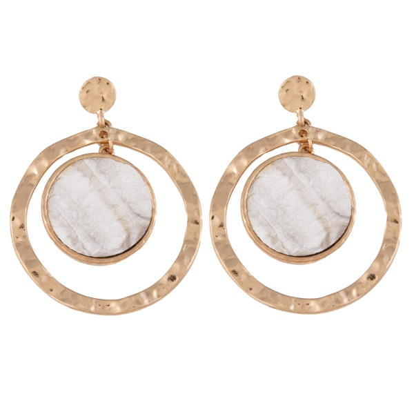 """Metal Encased Faux Leather Snakeskin Nested Earrings in Gold.  - Approximately 2"""" Long  - 1.75"""" in Outer Diameter"""