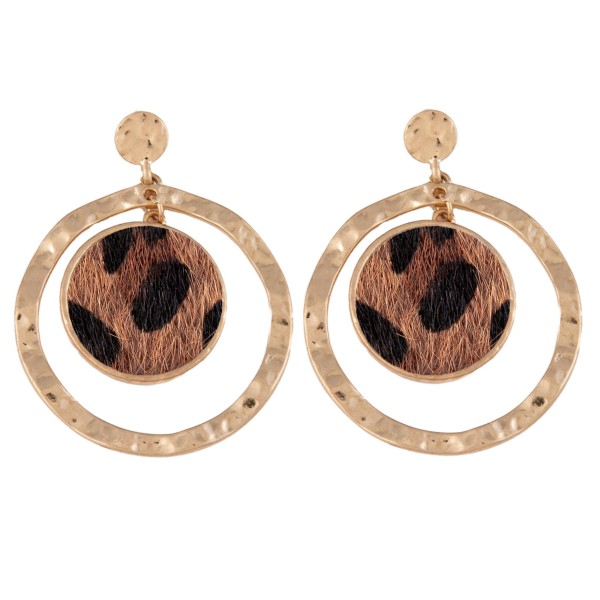 """Metal Encased Faux Leather Leopard Print Nested Earrings in Gold.  - Approximately 2"""" Long  - 1.75"""" in Outer Diameter"""