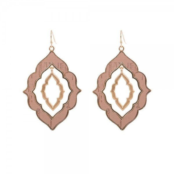 "Nested Moroccan Cork Earrings in Gold.  - Approximately 2.5"" Long"