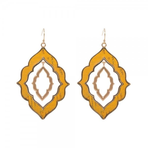 Wholesale nested Moroccan Cork Earrings Gold Long