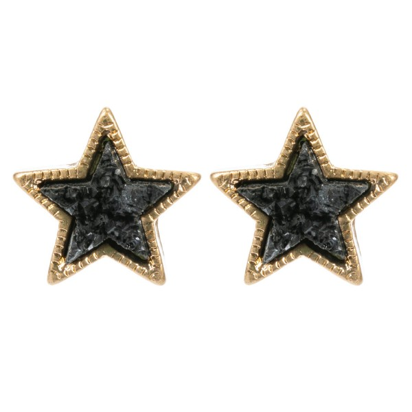 Druzy Star Stud Earrings in Gold.  - Approximately 10mm in Size