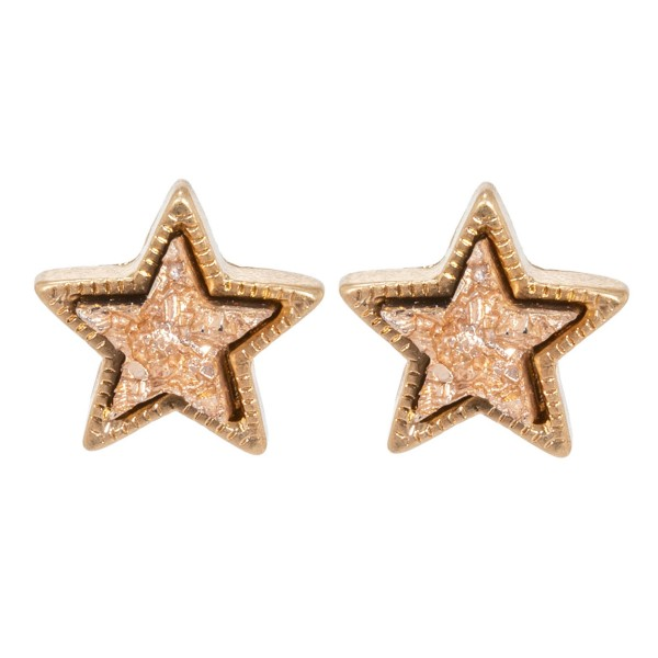 Wholesale druzy Star Stud Earrings Gold mm