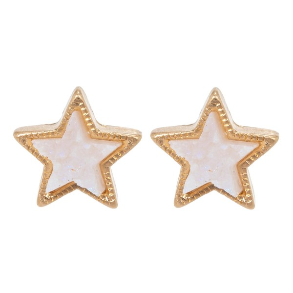 Druzy Star Stud Earrings in Gold.  - Approximately 10mm in Size