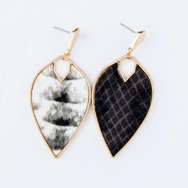 "Metal Encased Faux Leather Snakeskin Inverted Teardrop Earrings in Gold.  - Approximately 2.5"" Long"