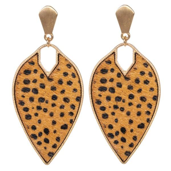 """Metal Encased Genuine Leather Cheetah Print Inverted Teardrop Earrings in Gold.  - Approximately 2.25"""" Long"""