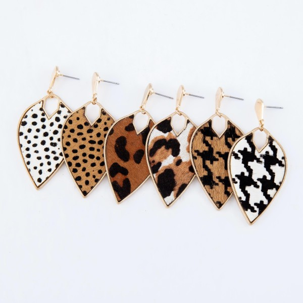 "Metal Encased Genuine Leather Leopard Print Inverted Teardrop Earrings in Gold.  - Approximately 2.25"" Long"