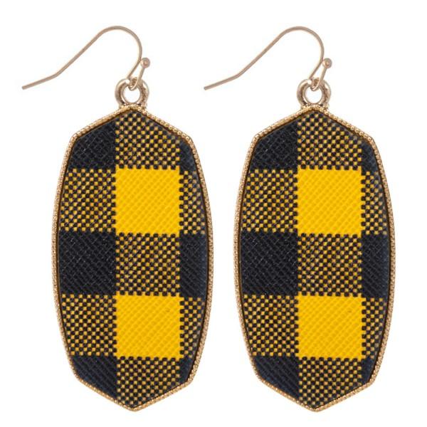 "Metal Encased Buffalo Check Oblong Drop Earrings in Gold.  - Approximately 2.25"" Long"