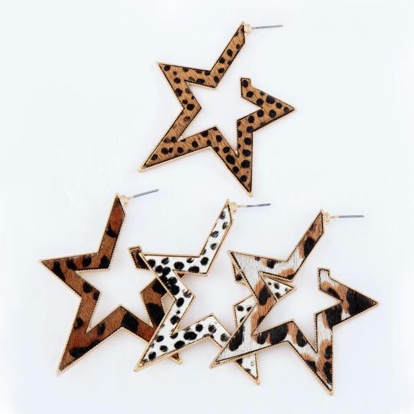 """Metal Encased Genuine Leather Cheetah Print Star Hoop Earrings in Gold.  - Approximately 2.25"""" Long"""