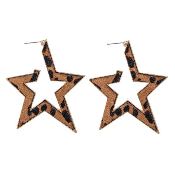 """Metal Encased Genuine Leather Leopard Print Star Hoop Earrings in Gold.  - Approximately 2.25"""" Long"""