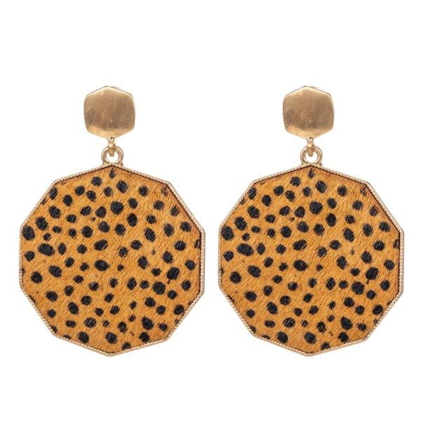 """Metal Encased Genuine Leather Cheetah Print Drop Earrings in Gold.  - Approximately 2.25"""" Long  - 1.5"""" in Diameter"""