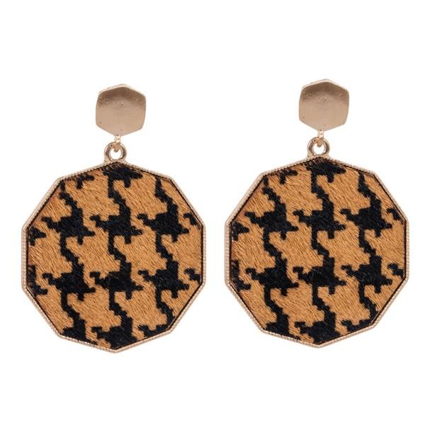 "Metal Encased Genuine Leather Houndstooth Drop Earrings in Gold.  - Approximately 2.25"" Long  - 1.5"" in Diameter"