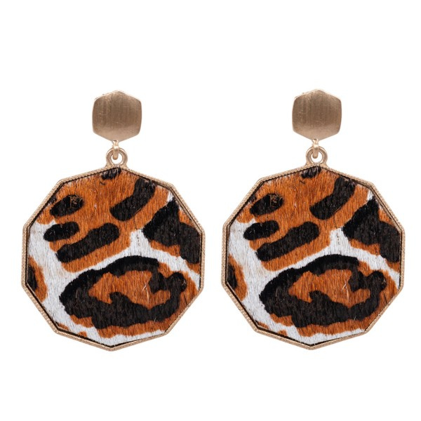"Metal Encased Genuine Leather Leopard Print Drop Earrings in Gold.  - Approximately 2.25"" Long  - 1.5"" in Diameter"