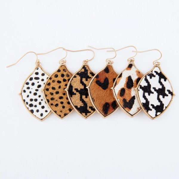 "Metal Encased Genuine Leather Cheetah Print Drop Earrings in Gold.  - Approximately 2"" Long"
