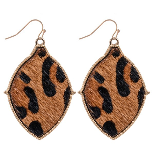 Wholesale metal Encased Genuine Leather Leopard Print Drop Earrings Gold Long