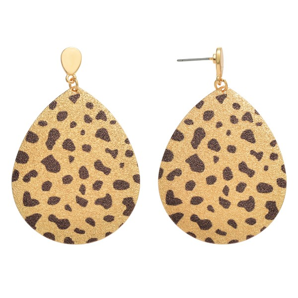 "Plated Cheetah Print Teardrop Earrings.  - Approximately 2.25"" Long"