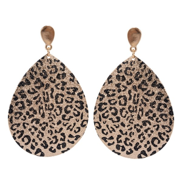 """Plated Leopard Print Teardrop Earrings.  - Approximately 2.25"""" Long"""