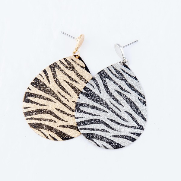 "Plated Tiger Print Teardrop Earrings.  - Approximately 2.25"" Long"