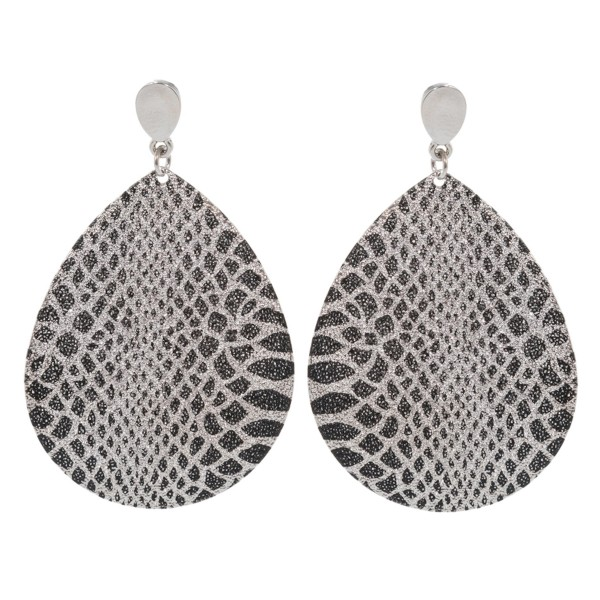 "Plated Snakeskin Print Teardrop Earrings.  - Approximately 2.25"" Long"