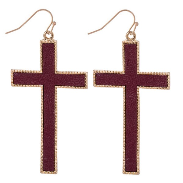 """Metal Encased Faux Leather Cross Drop Earrings.  - Approximately 2.5"""" Long"""