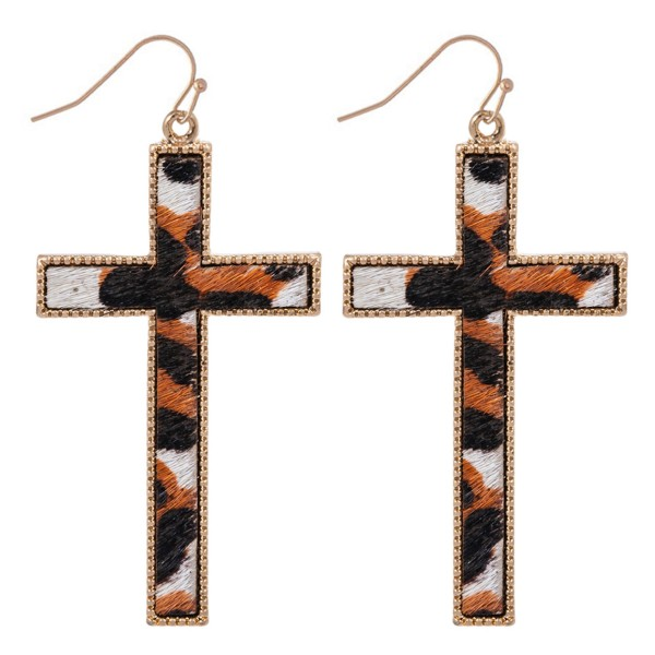 "Metal Encased Genuine Leather Leopard Print Cross Drop Earrings.  - Approximately 2.5"" Long"