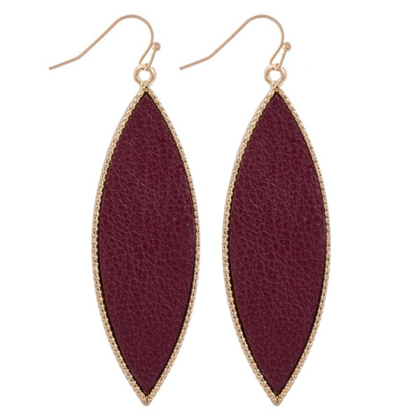 "Metal Encased Faux Leather Pointed Drop Earrings in Gold.  - Approximately 2.25"" Long"