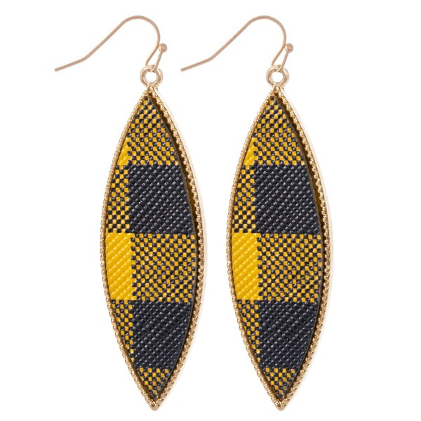 "Metal Encased Pointed Buffalo Check Drop Earrings in Gold.  - Approximately 2.25"" Long"