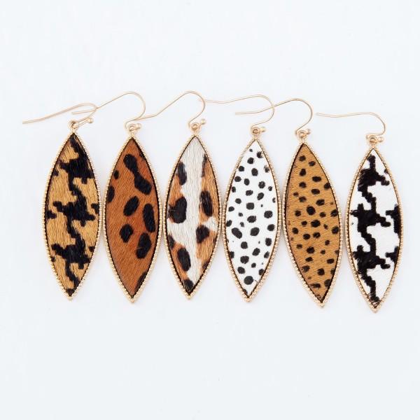 """Metal Encased Genuine Leather Cheetah Print Drop Earrings in Gold.  - Approximately 2.25"""" Long"""